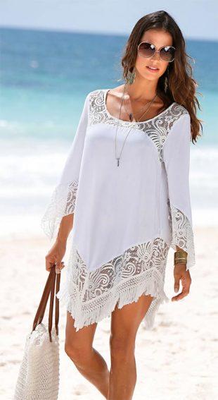 Strand tunika hímzett csipkével