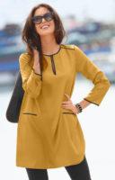 Hosszú sárga női zubbony leggingshez