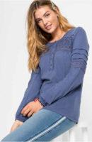 Kék vintage női tunika, hosszú ujjú