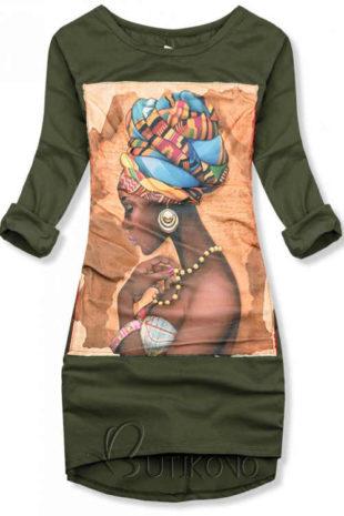 Khaki pamut ruha applikációval