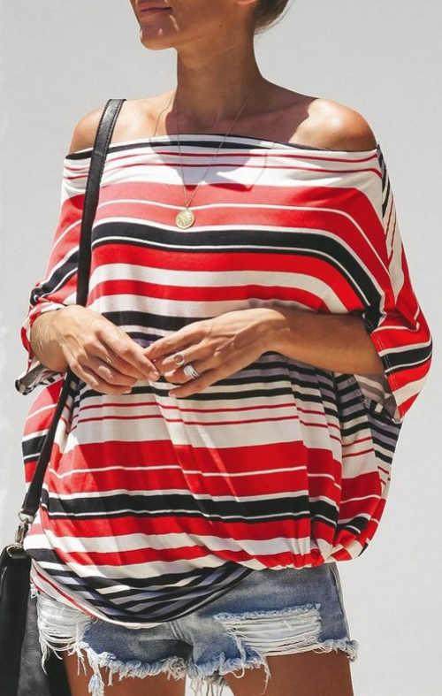 Modern csíkos női póló nyárra