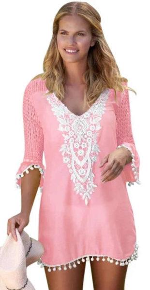 Rózsaszín strand tunika fehér csipke hímzéssel