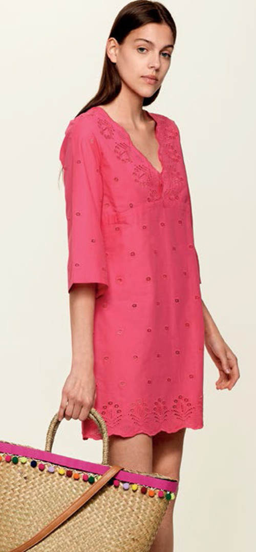 Rózsaszín vászon strandruha egyenes szabású