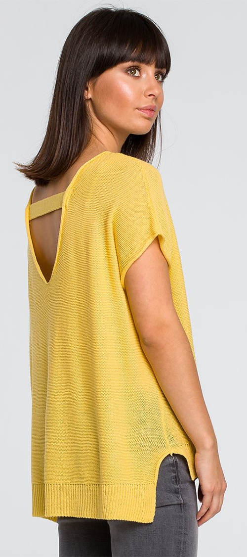 Sárga tunika pulóver